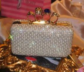Swarski Skull Ring Pearl Crystal Bead Spark Evening Wedding Bridal Clutch/Purse/Handbag