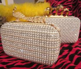 Swarski Fashion Pearl Skull Crystal Peacock Glamorous Hasp Evening Wedding Bridal Clutch/Purse/Handbag Handmade