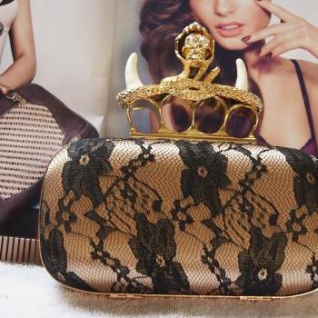 NEW Design Unicorn Gold Skull Ring Knuckle Box Lace Sexy Clutch Evening Party Bag